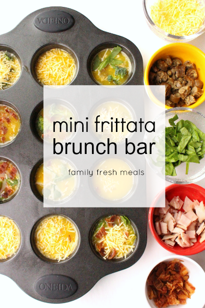 Mini frittata brunch bar - familyfreshmeals.com - perfect for breakfast, brunch or a FUN dinner! --