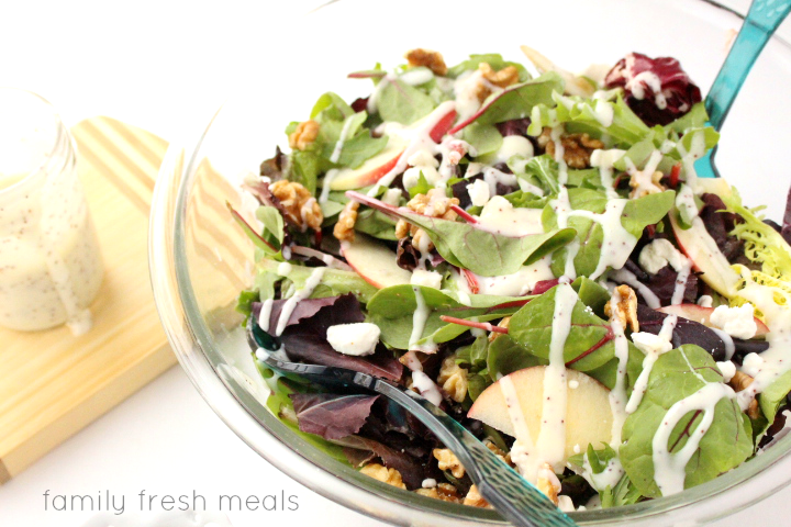 the best homemade poppy seed dressing --- familyfreshmeals.com -- on apple walnut goat cheese salad with poppyseed dressing - familyfreshmeals.com -- The perfect spring salad! -