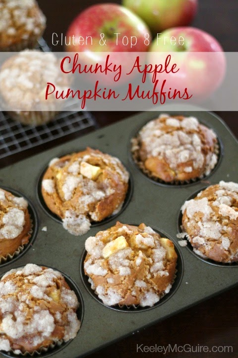chunky apple pumpkin muffins fall gluten top 8 free no egg dairy nuts soy wheat