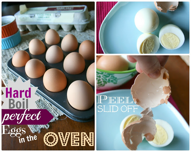 collage image showing the steps of how to make hard boiled eggs in oven