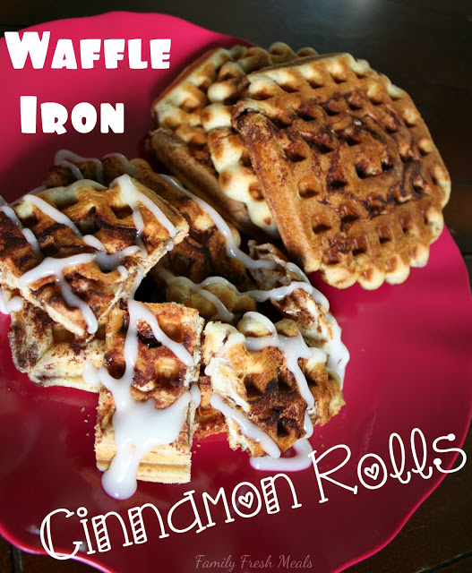 Cinnamon Roll waffles on a red plate