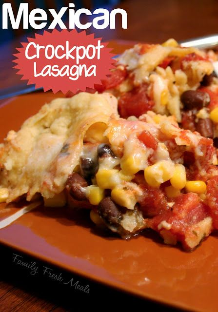 Crockpot Mexican Lasagna on a brown plate