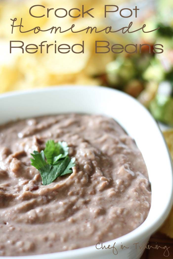 Crockpot Refried Beans in a white bowl
