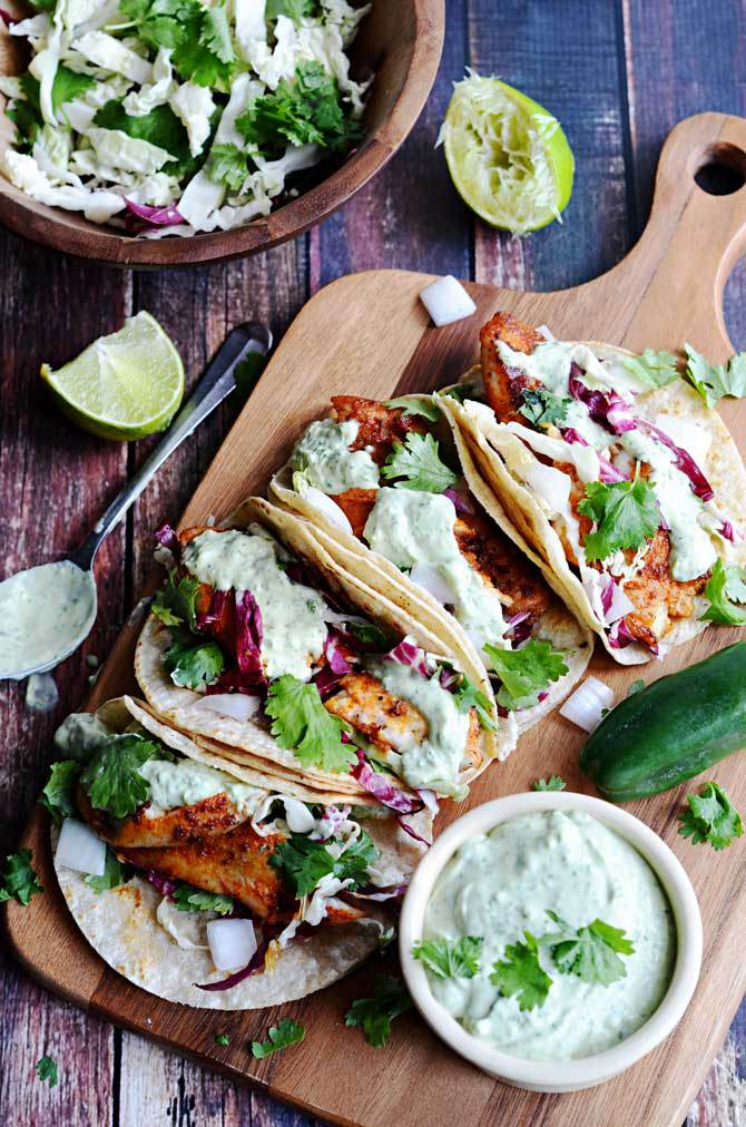 Blackened Fish Tacos on a cutting board