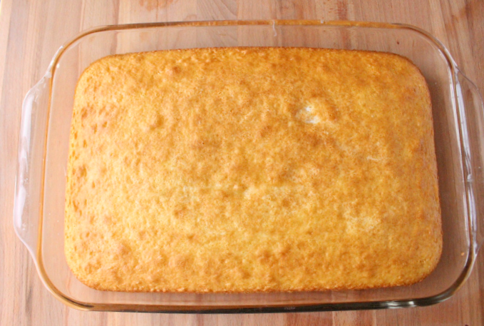 white cake in a baking dish