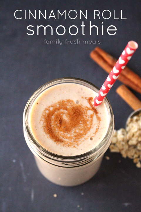 Cinnamon Roll Smoothie in a glass with a straw