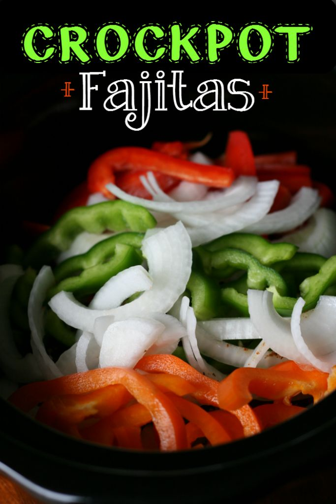 fresh bell pepper and onions strips in a slow cooker