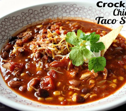 Crockpot Chicken Taco Soup - FamilyFreshMeals.com - 30 Easy Mexican Recipes for Cinco De Mayo