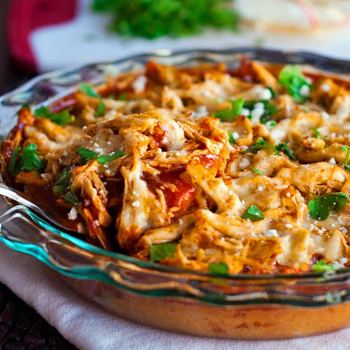 Chicken Tamale Pie in a glass baking dish