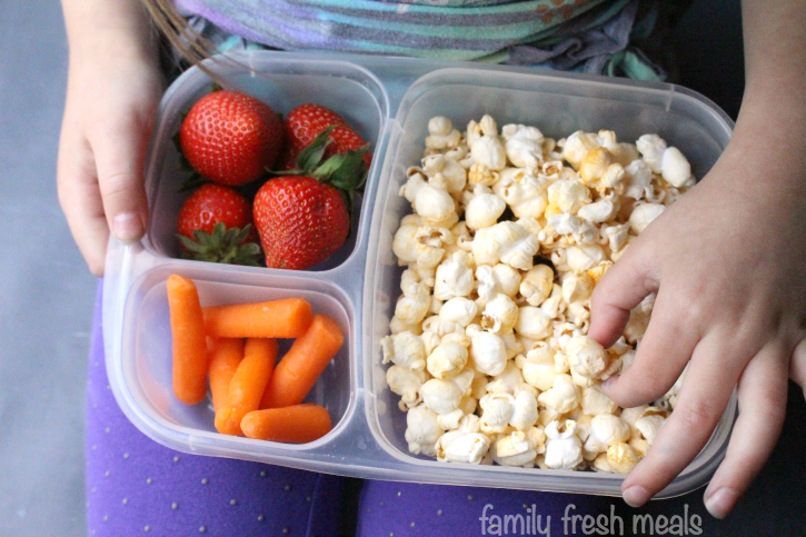 On the Go Snack Lunches - Love this popcorn for on the go!