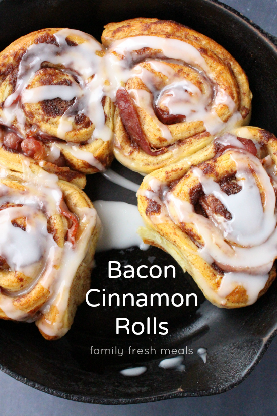 Bacon Wrapped Cinnamon Rolls in cast iron skillet