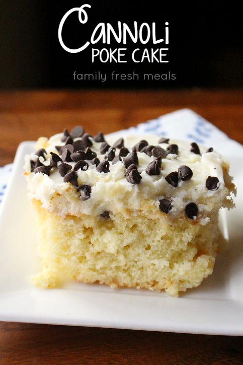 Piece of Cannoli Poke Cake Enjoy on a white plate via @familyfresh