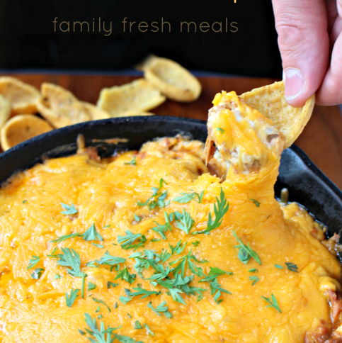 Cheesy BBQ Pulled Pork Dip - FamilyFreshMeals.com