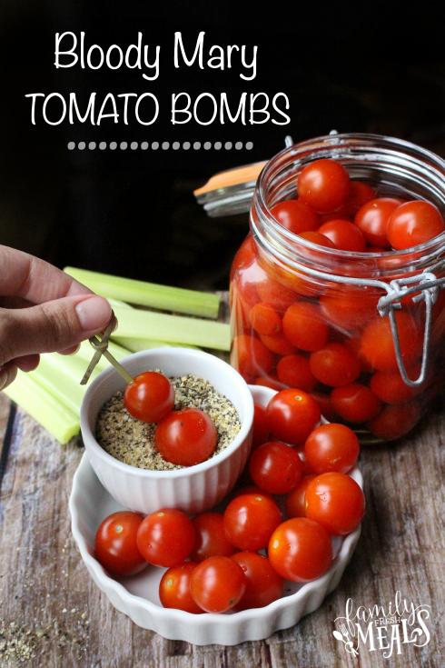 Boozy Bloody Mary Tomato Bombs - FamilyFreshMeals.com