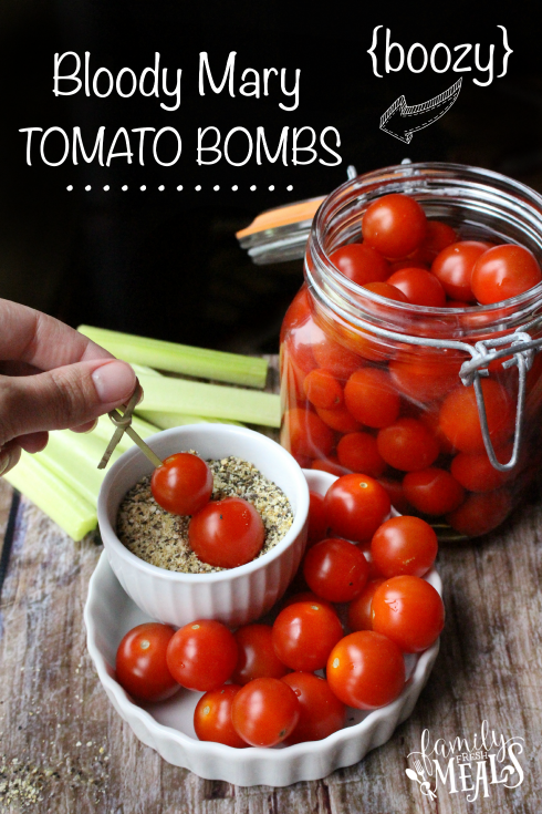 Boozy Bloody Mary Tomato Bombs - some in a dish, some in a glass jar