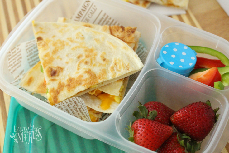 Freezer Breakfast Quesadillas packed for lunch