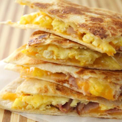 Freezer Breakfast Quesadillas 4 ways - FamiilyFreshMeals.com --