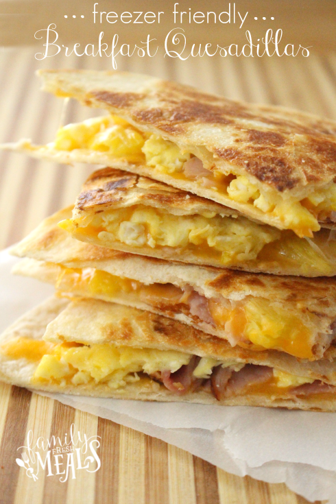 Freezer Breakfast Quesadillas 4 ways - FamiilyFreshMeals.com --