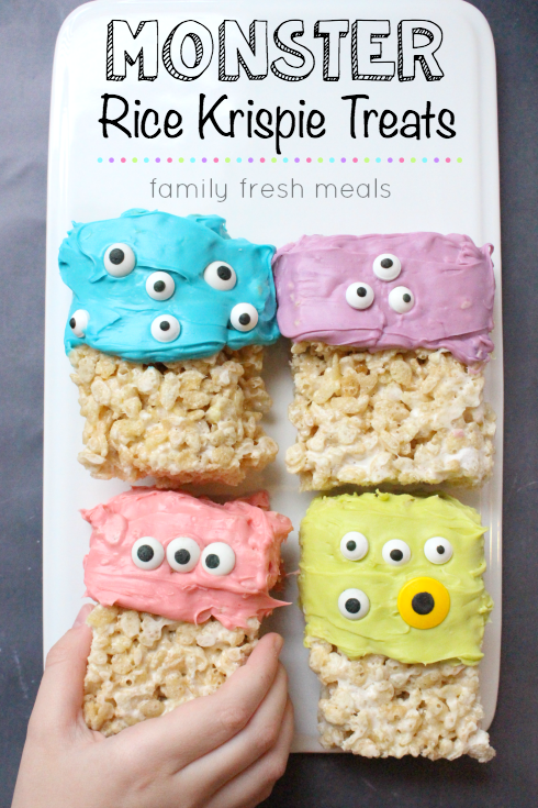 Easy Halloween Monster Rice Krispie Treats - FamilyFreshMeals.com