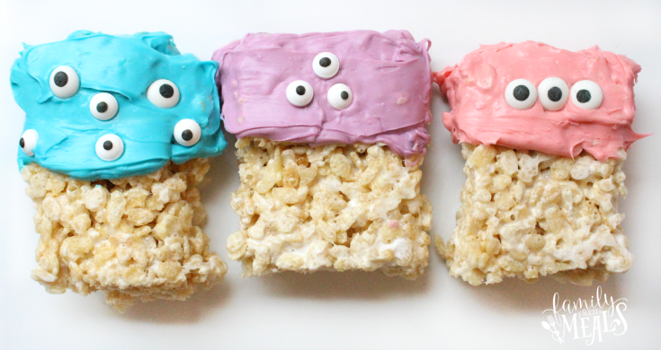 Easy Halloween Monster Rice Krispie Treats -- FamilyFreshMeals.com --