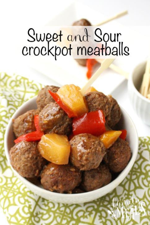 Sweet and Sour Crockpot Meatballs - FamilyFreshMeals.com