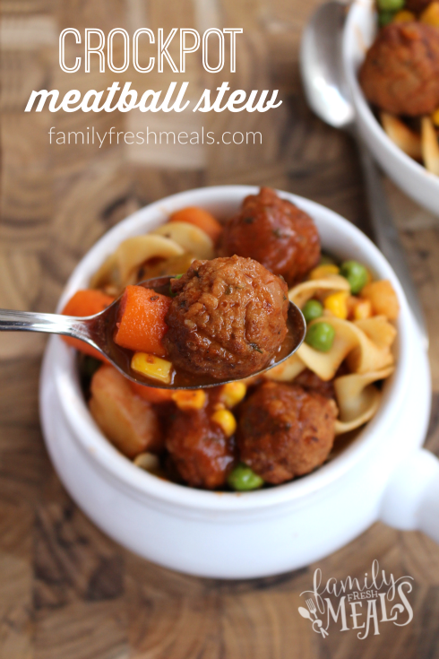Crockpot Meatball Stew - Easy meal your family will love! FamilyFreshMeals.com