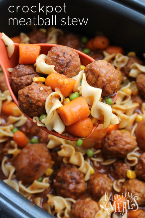 Crockpot Meatball Stew - Easy meal your family will love! Family Fresh Meals Reipce