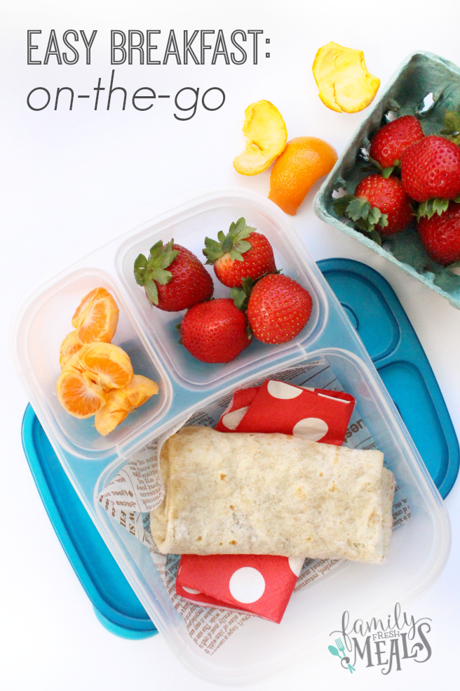 Breakfast burrito packed in a lunchbox