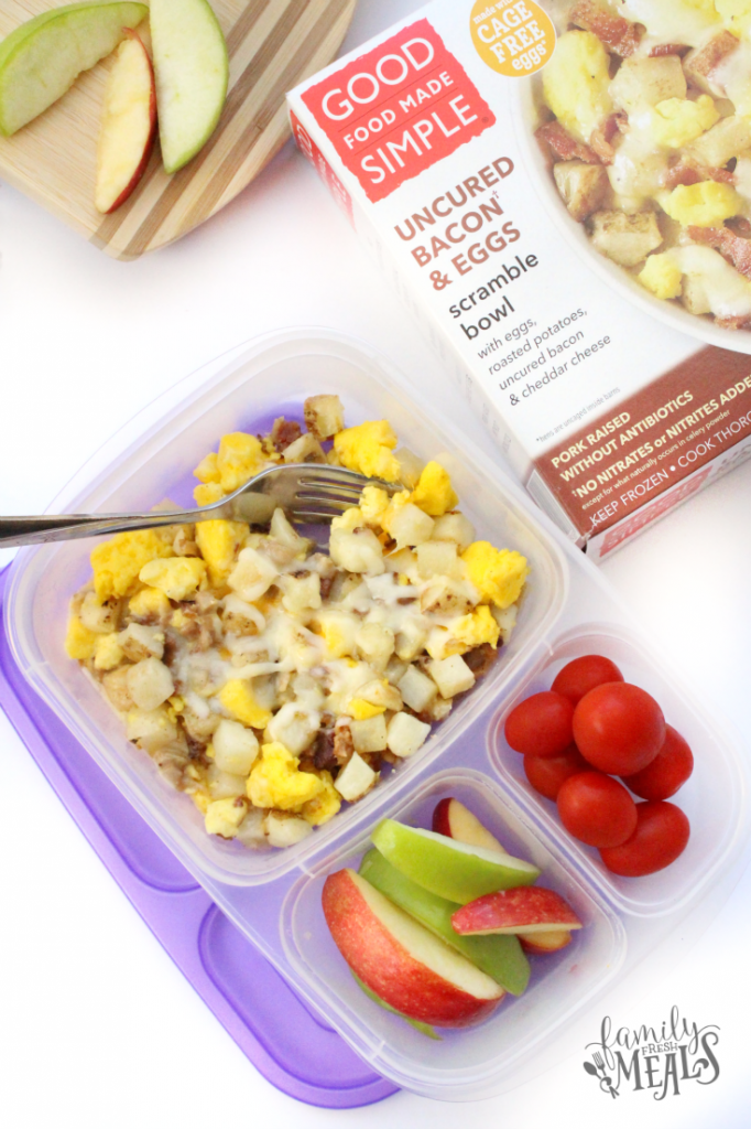 bacon and egg scramble packed in a lunchbox with fruit