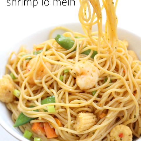 Honey Garlic Shrimp Lo Mein -- Easy meal! FamilyFreshMeals.com
