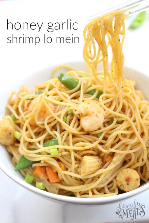 Honey Garlic Shrimp Lo Mein -- Easy meal! FamilyFreshMeals.com