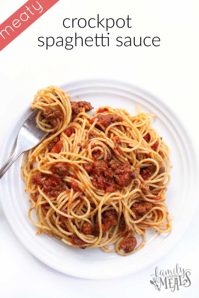 Crockpot Spaghetti Sauce - FamilyFreshMeals.com --- MEATY!