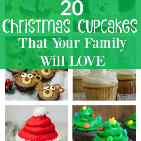 collage image of 6 different holiday cupcakes