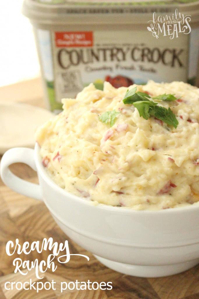 Creamy Ranch Crockpot Mashed Potatoes - FamilyFreshMeals.com --