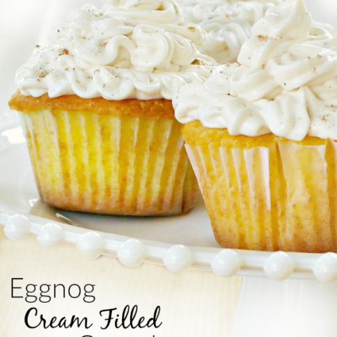 Eggnog Cream Filled Cupcakes - FamilyFreshMeals.com - -