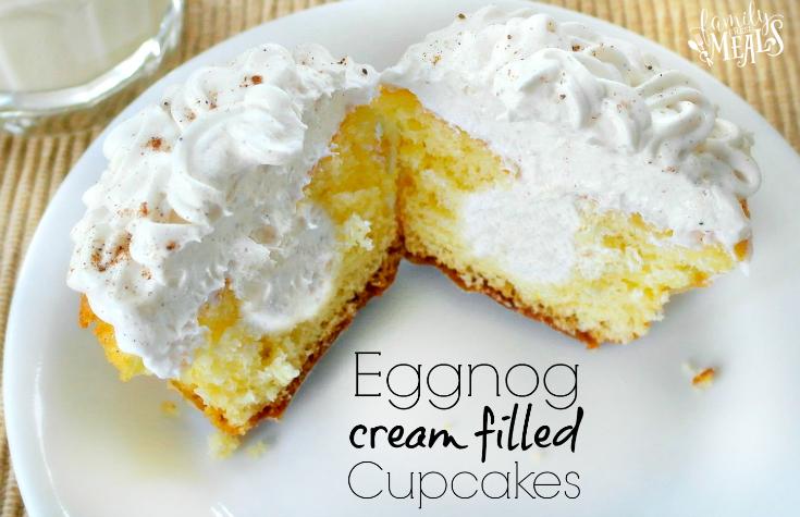 Eggnog Cream Filled Cupcake cut in half