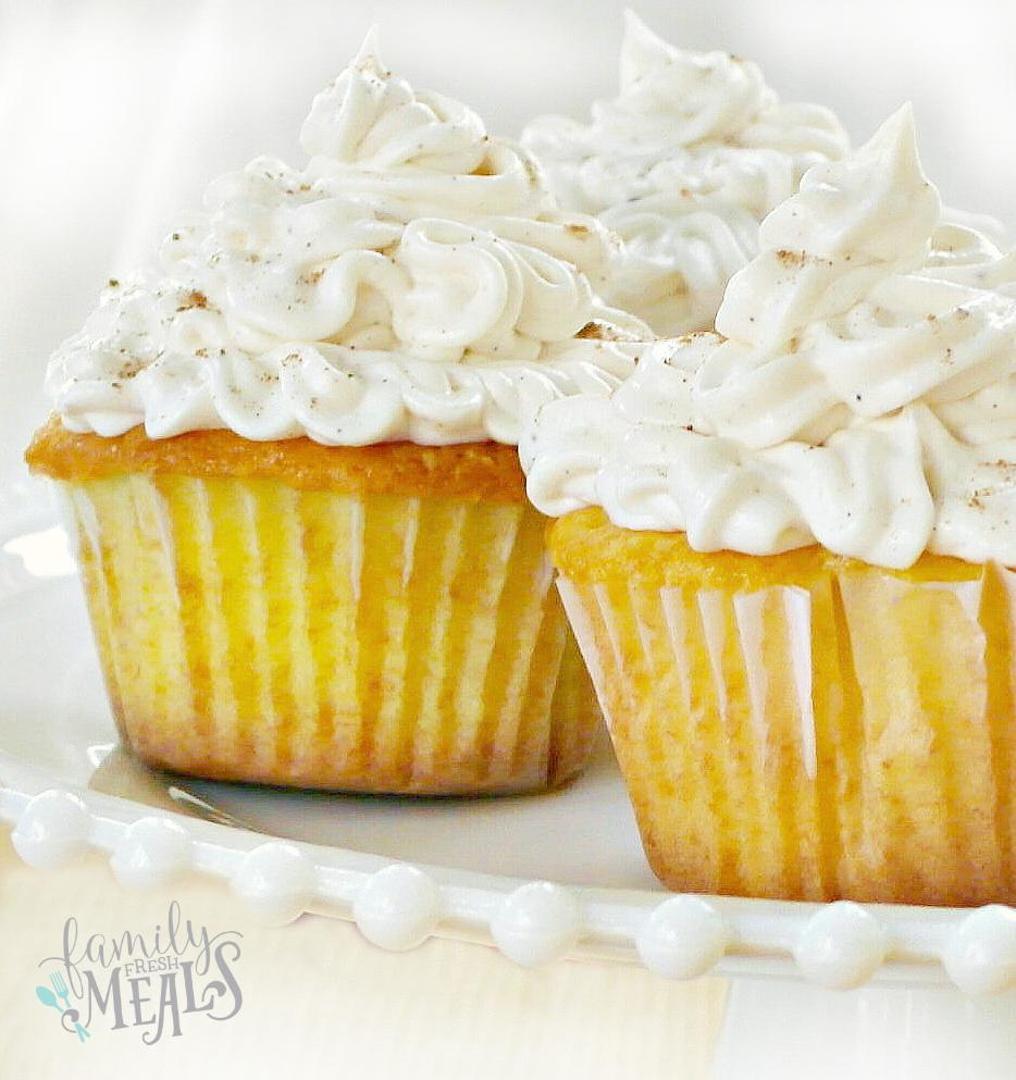 Eggnog Cream Filled Cupcakes on a serving platter
