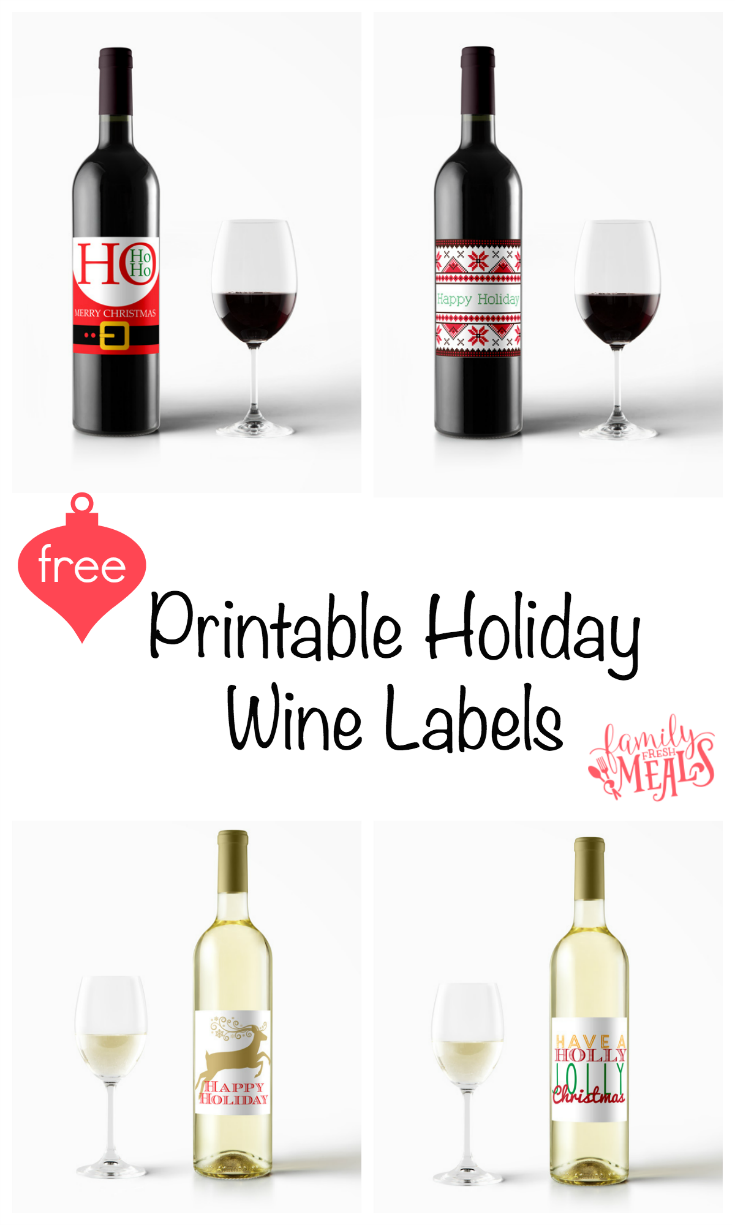 image relating to Printable Wine Bottle Label known as Totally free Printable Holiday vacation Wine Labels - Household Refreshing Food stuff