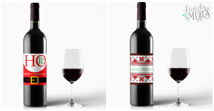free printable holiday wine labels red