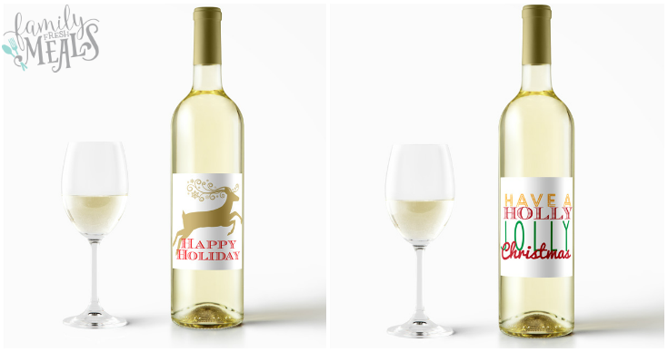 free printable holiday wine labels white