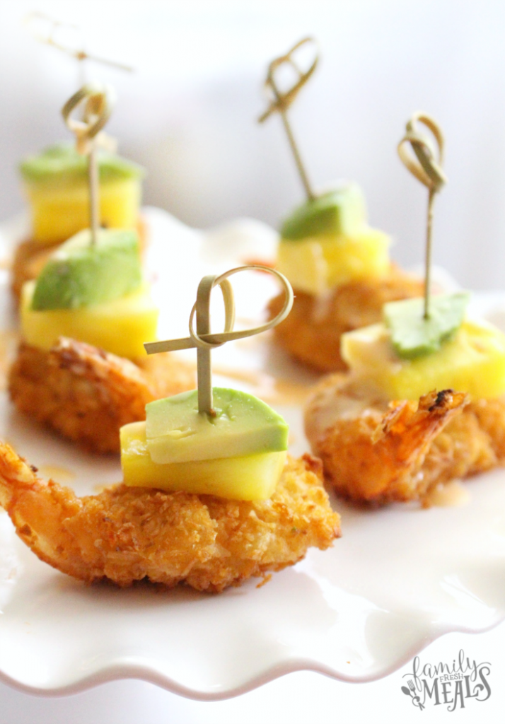 Tropical coconut shrimp bites --- familyfreshmeals.com - the perfect holiday appetizer