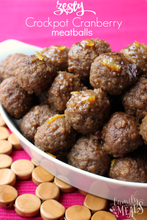 Zesty Crockpot Cranberry Meatballs - FamilyFreshMeals.com - Yummy Appetizer