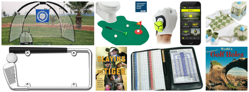 Collage image showing golf lover gift ideas