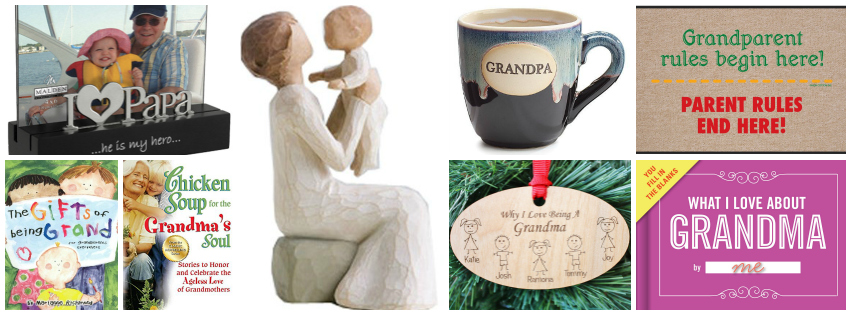 Collage image showing gift ideas for grandparents