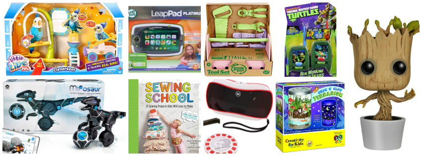 Collage image showing gift ideas for kids