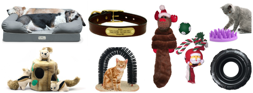 Collage image showing gift ideas for pets
