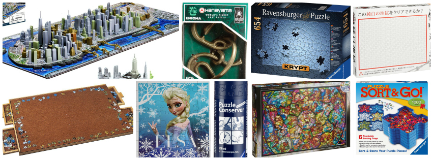 Collage image showing puzzle gift ideas