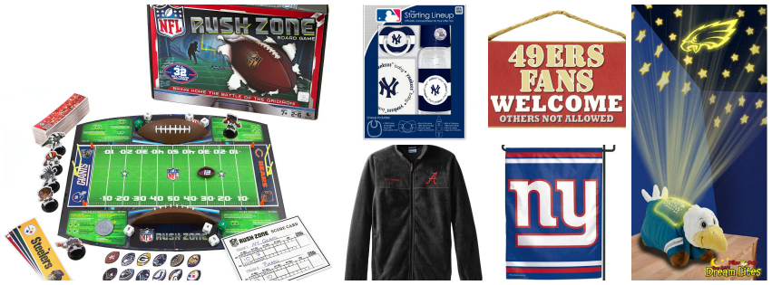 Collage image showing gift ideas for sport fans