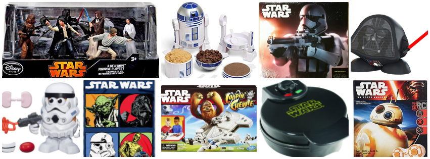Collage image showing gift ideas for people who live star wars
