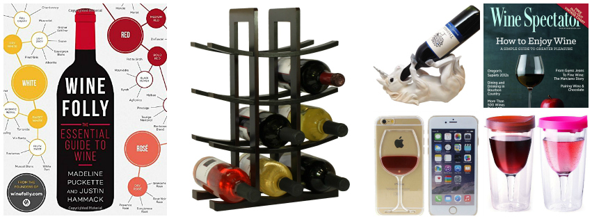 collage image showing wine lover gift ideas